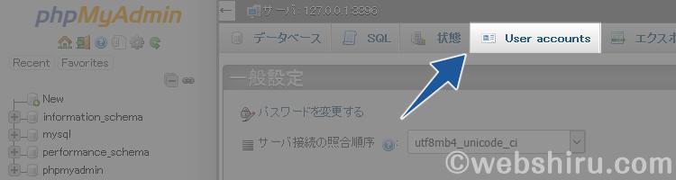 phpMyAdminの管理画面で[User accounts]をクリック